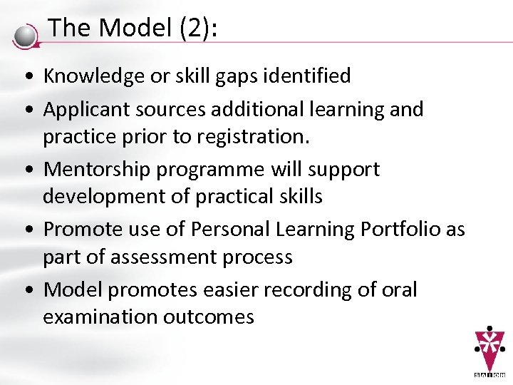 The Model (2): • Knowledge or skill gaps identified • Applicant sources additional learning