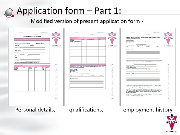 Application form – Part 1: Modified version of present application form - Personal details,