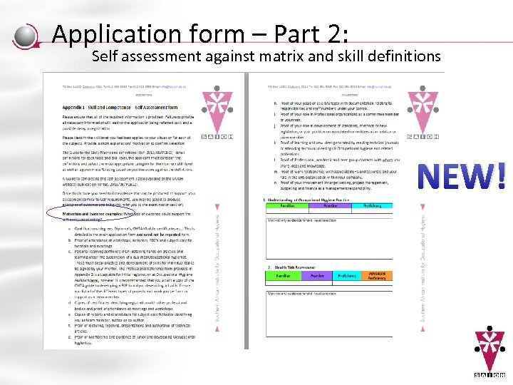 Application form – Part 2: Self assessment against matrix and skill definitions NEW!
