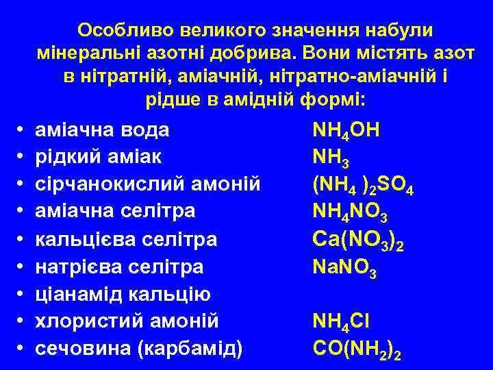 Особливо великого значення набули мінеральні азотні добрива. Вони містять азот в нітратній, аміачній, нітратно-аміачній