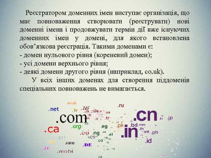Реєстратором доменних імен виступає організація, що має повноваження створювати (реєструвати) нові доменні імена і