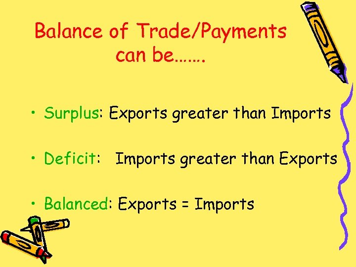 Balance of Trade/Payments can be……. • Surplus: Exports greater than Imports • Deficit: Imports