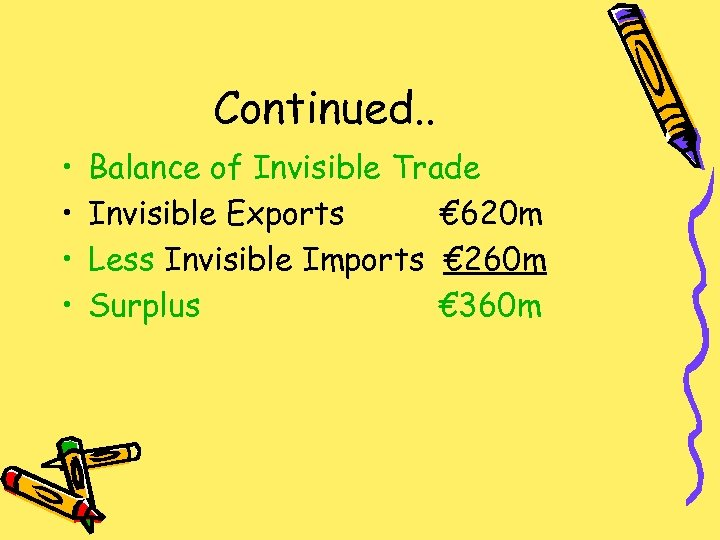 Continued. . • • Balance of Invisible Trade Invisible Exports € 620 m Less