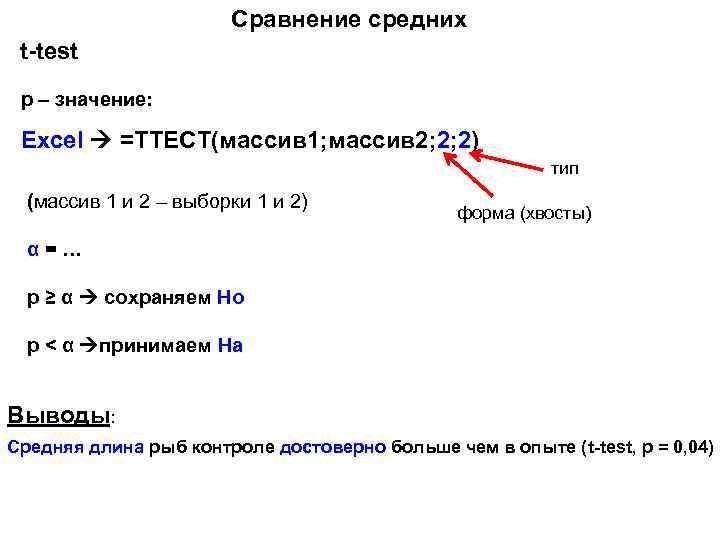 Сравнение средних t-test p – значение: Excel =ТТЕСТ(массив 1; массив 2; 2; 2) тип