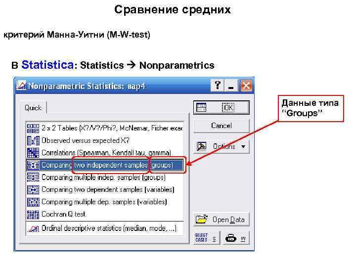 "Сравнение средних критерий Манна-Уитни (M-W-test) В Statistica: Statistics Nonparametrics Данные типа ""Groups"""