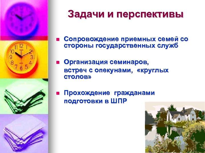 Задачи и перспективы n Сопровождение приемных семей со стороны государственных служб n Организация семинаров,