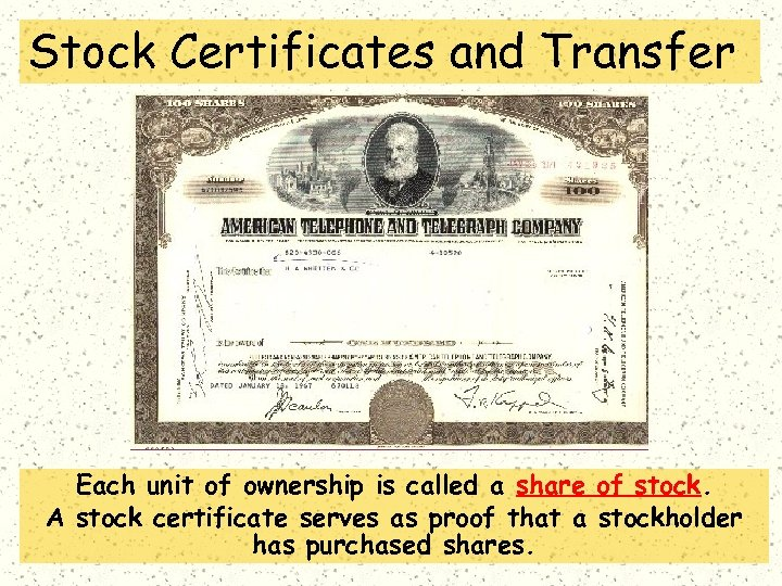 Stock Certificates and Transfer Each unit of ownership is called a share of stock.