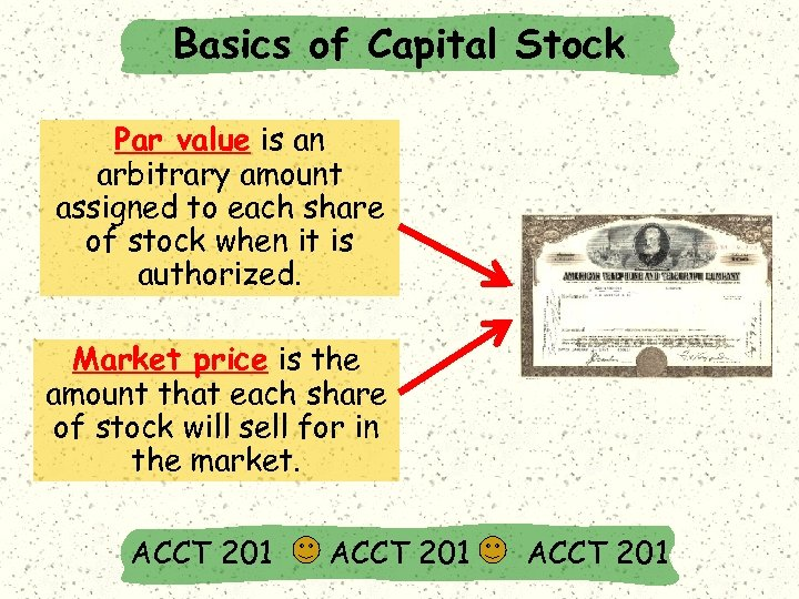 Basics of Capital Stock Par value is an arbitrary amount assigned to each share
