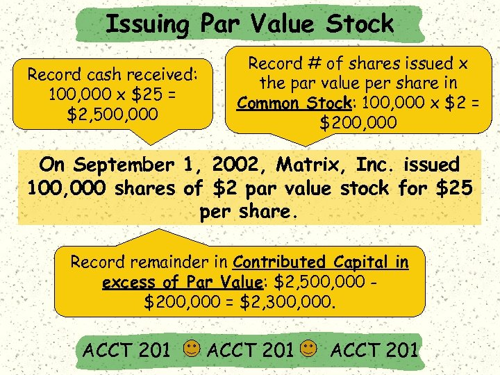 Issuing Par Value Stock Record cash received: 100, 000 x $25 = $2, 500,