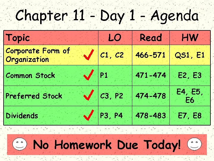 Chapter 11 - Day 1 - Agenda Topic LO Read HW Corporate Form of