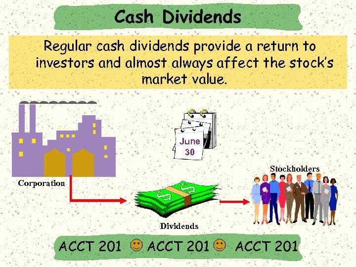Cash Dividends Regular cash dividends provide a return to investors and almost always affect