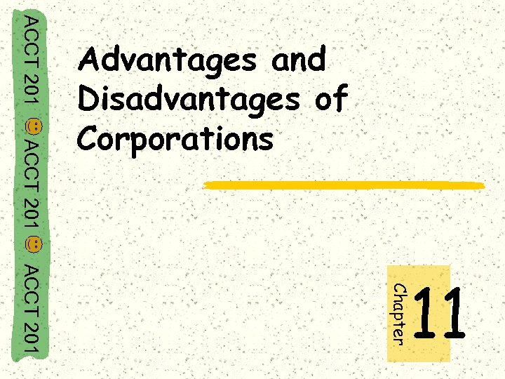 ACCT 201 Advantages and Disadvantages of Corporations Chapter ACCT 201 11