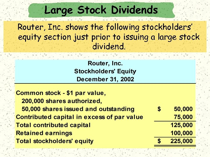 Large Stock Dividends Router, Inc. shows the following stockholders' equity section just prior to