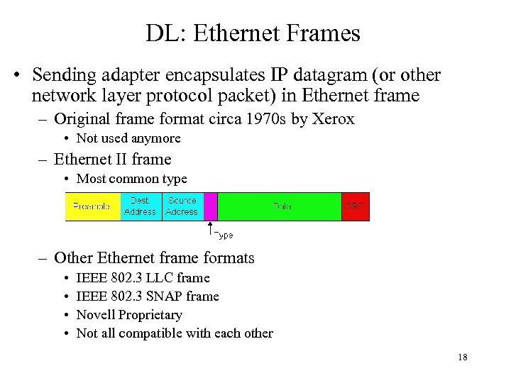 DL: Ethernet Frames • Sending adapter encapsulates IP datagram (or other network layer protocol