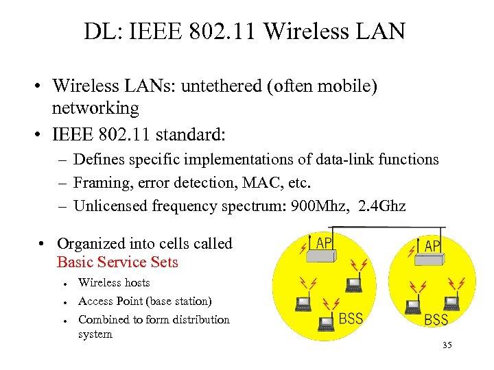 DL: IEEE 802. 11 Wireless LAN • Wireless LANs: untethered (often mobile) networking •