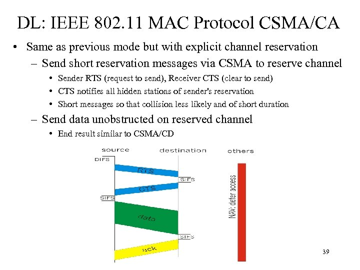 DL: IEEE 802. 11 MAC Protocol CSMA/CA • Same as previous mode but with
