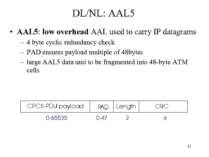 DL/NL: AAL 5 • AAL 5: low overhead AAL used to carry IP datagrams