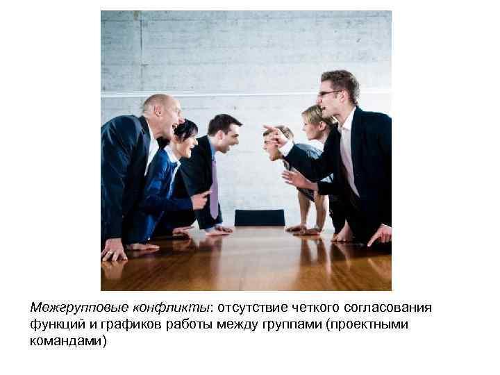 Межгрупповые конфликты: отсутствие четкого согласования функций и графиков работы между группами (проектными командами)