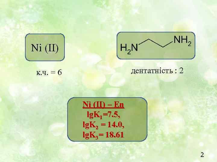 Ni (II) дентатність : 2 к. ч. = 6 Ni (II) – En lg.