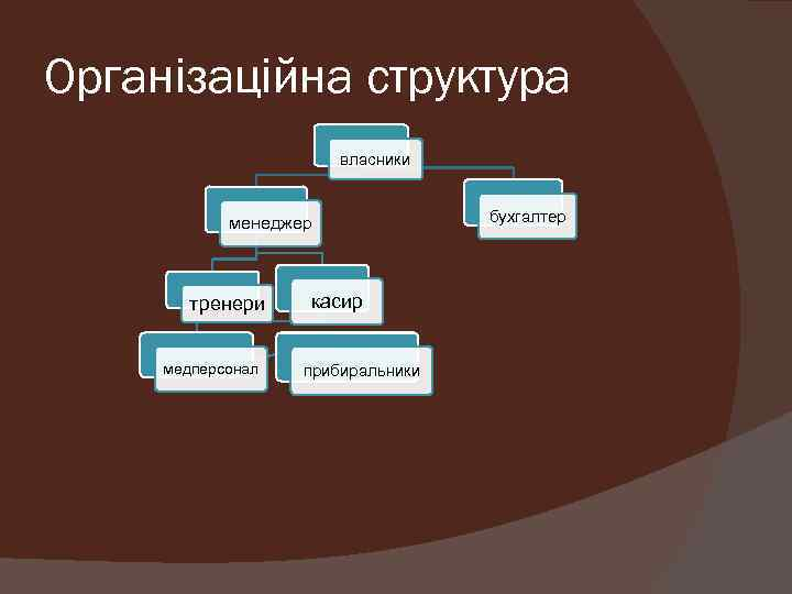 Організаційна структура власники менеджер тренери медперсонал касир прибиральники бухгалтер