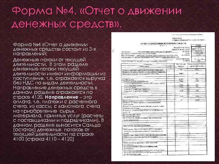 Форма № 4. «Отчет о движении денежных средств» . Форма № 4 «Отчет о