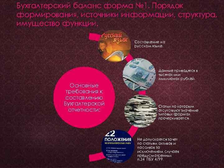 Бухгалтерский баланс форма № 1. Порядок формирования, источники информации, структура, имущество функции. Составление на