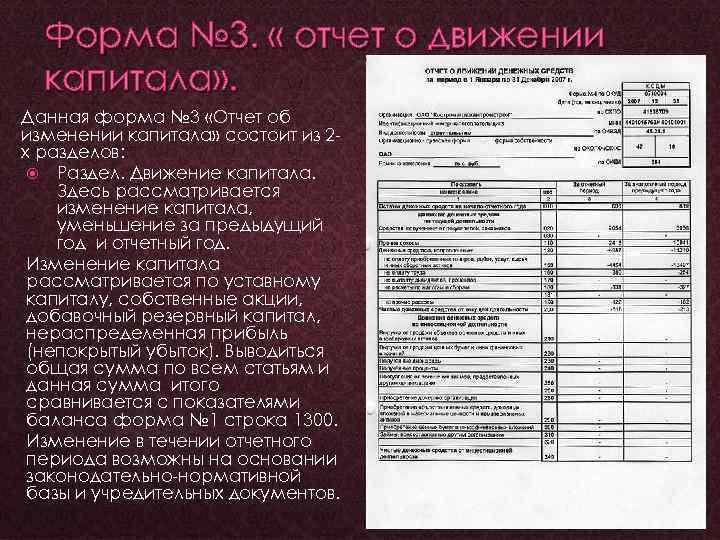 Форма № 3. « отчет о движении капитала» . Данная форма № 3 «Отчет