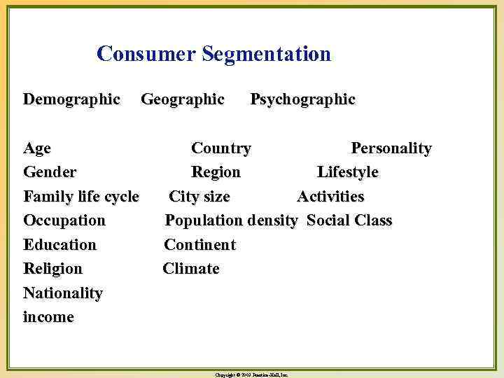 Consumer Segmentation Demographic Age Gender Family life cycle Occupation Education Religion Nationality income Geographic