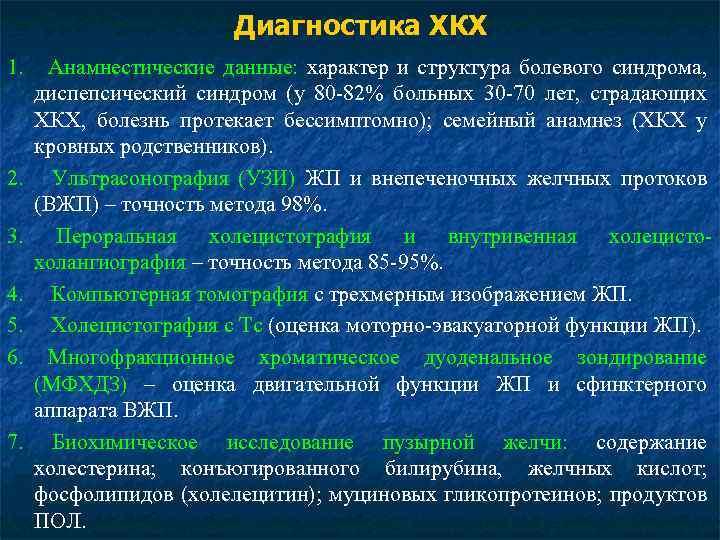 Диагностика ХКХ 1. 2. 3. 4. 5. 6. 7. Анамнестические данные: характер и структура