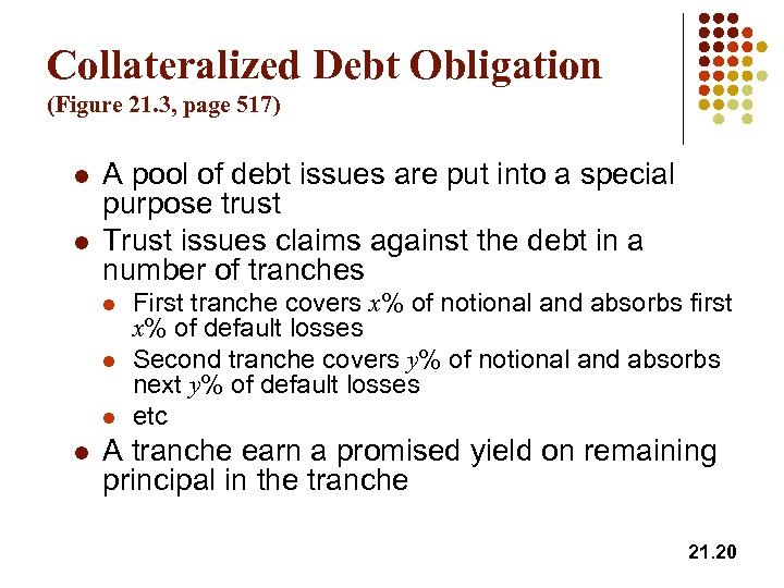 Collateralized Debt Obligation (Figure 21. 3, page 517) l l A pool of debt