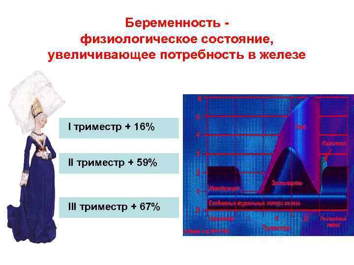 Беременность - физиологическое состояние, увеличивающее потребность в железе I триместр + 16% II триместр