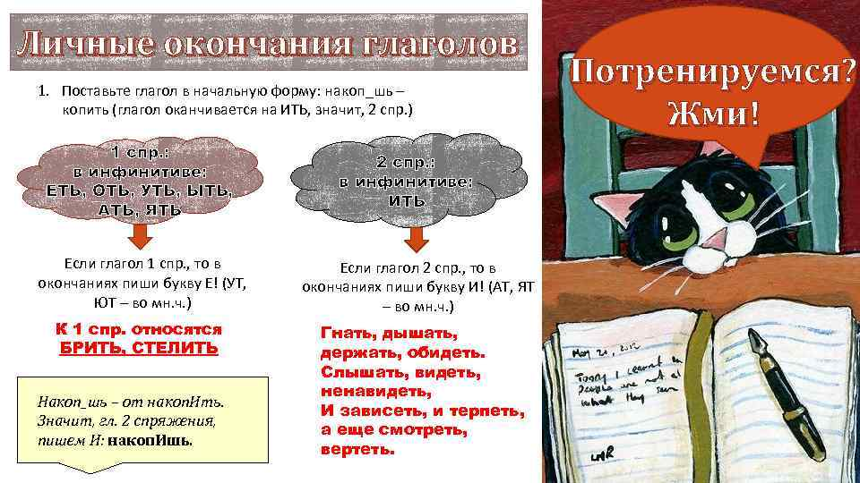 Личные окончания глаголов 1. Поставьте глагол в начальную форму: накоп_шь – копить (глагол оканчивается