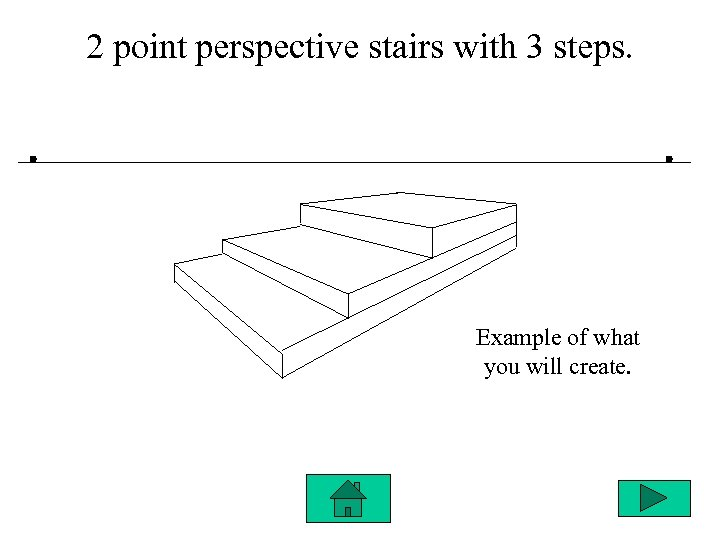 2 point perspective stairs with 3 steps. Example of what you will create.