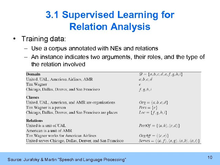 3. 1 Supervised Learning for Relation Analysis • Training data: – Use a corpus