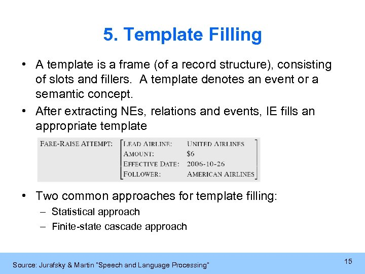 5. Template Filling • A template is a frame (of a record structure), consisting