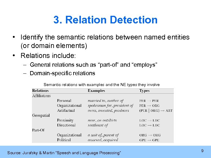 3. Relation Detection • Identify the semantic relations between named entities (or domain elements)