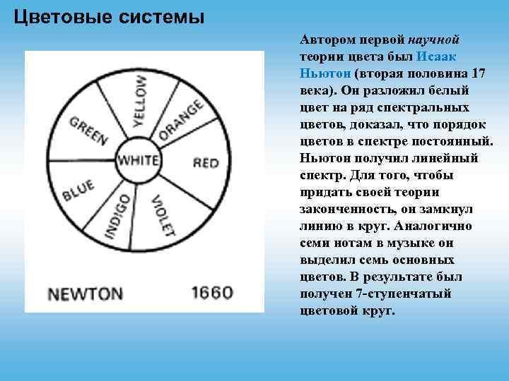 Цветовые системы Автором первой научной теории цвета был Исаак Ньютон (вторая половина 17 века).
