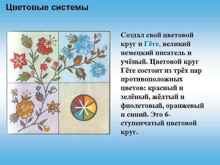 Цветовые системы Cоздал свой цветовой круг и Гёте, великий немецкий писатель и учёный. Цветовой