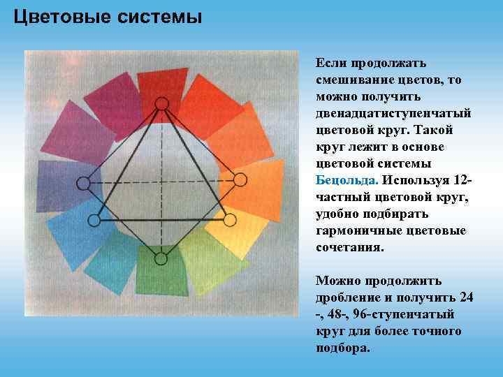 Цветовые системы Если продолжать смешивание цветов, то можно получить двенадцатиступенчатый цветовой круг. Такой круг