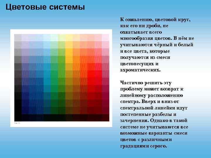 Цветовые системы К сожалению, цветовой круг, как его ни дроби, не охватывает всего многообразия