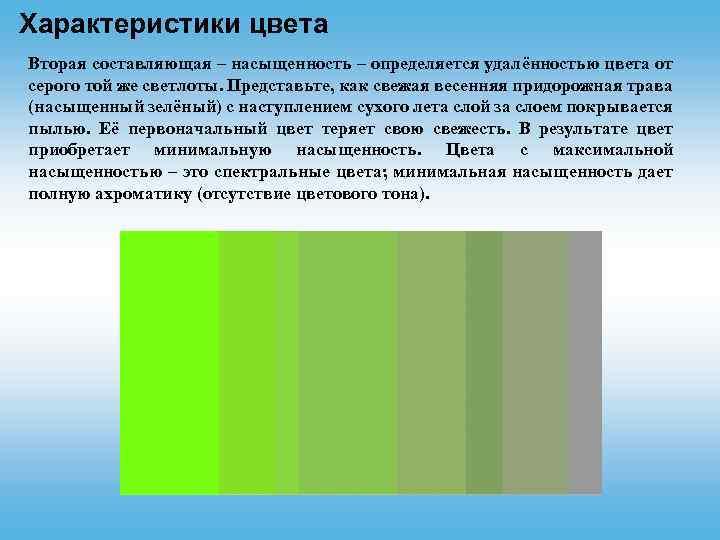 Характеристики цвета Вторая составляющая – насыщенность – определяется удалённостью цвета от серого той же