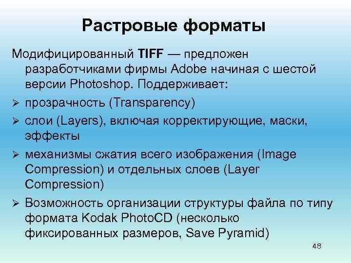 Растровые форматы Модифицированный TIFF — предложен разработчиками фирмы Adobe начиная с шестой версии Photoshop.