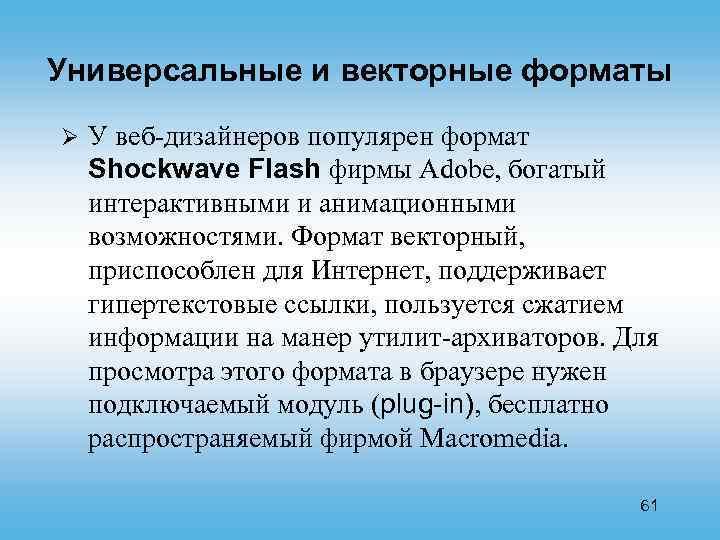 Универсальные и векторные форматы Ø У веб-дизайнеров популярен формат Shockwave Flash фирмы Adobe, богатый