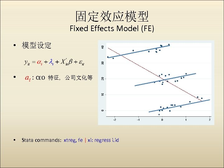 固定效应模型 Fixed Effects Model (FE) • 模型设定 • • ai : CEO 特征, 公司文化等