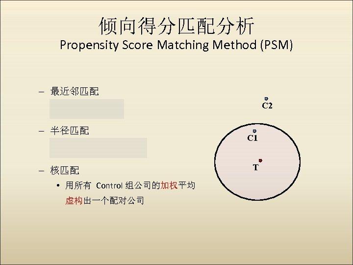 倾向得分匹配分析 Propensity Score Matching Method (PSM) – 最近邻匹配 C 2 – 半径匹配 – 核匹配