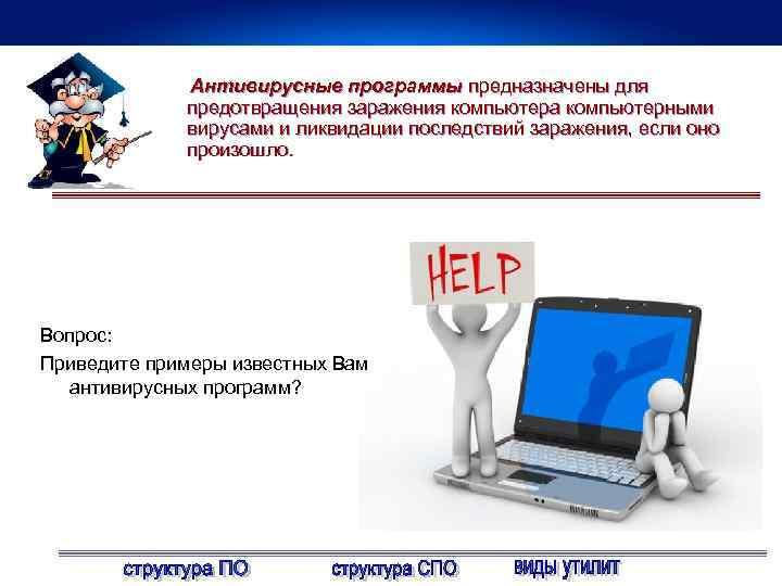 Антивирусные программы предназначены для предотвращения заражения компьютера компьютерными вирусами и ликвидации последствий заражения, если