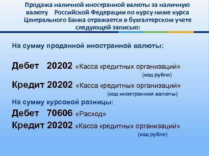 Продажа наличной иностранной валюты за наличную валюту Российской Федерации по курсу ниже курса Центрального