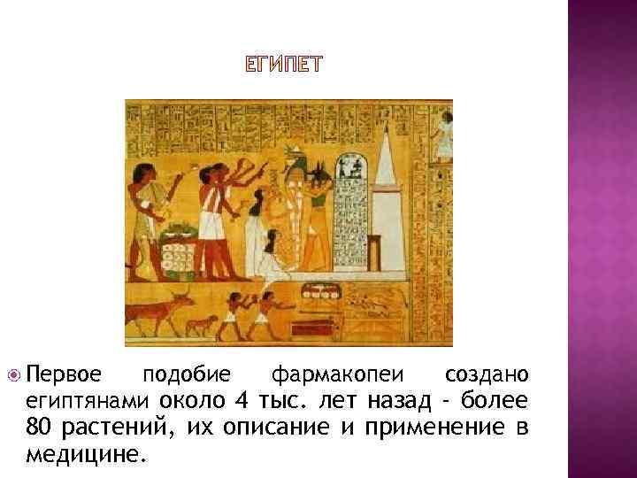 Первое подобие фармакопеи создано египтянами около 4 тыс. лет назад - более 80