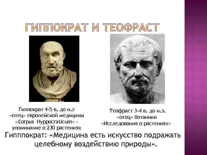 Гиппократ 4 -5 в. до н. э «отец» европейской медицины «Corpus Hyppocraticum» упоминание о