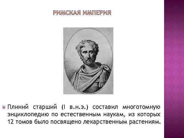 Плиний старший (I в. н. э. ) составил многотомную энциклопедию по естественным наукам,